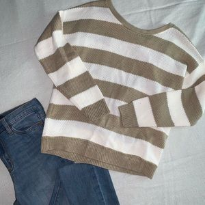 NWT White and Tan Striped Sweater